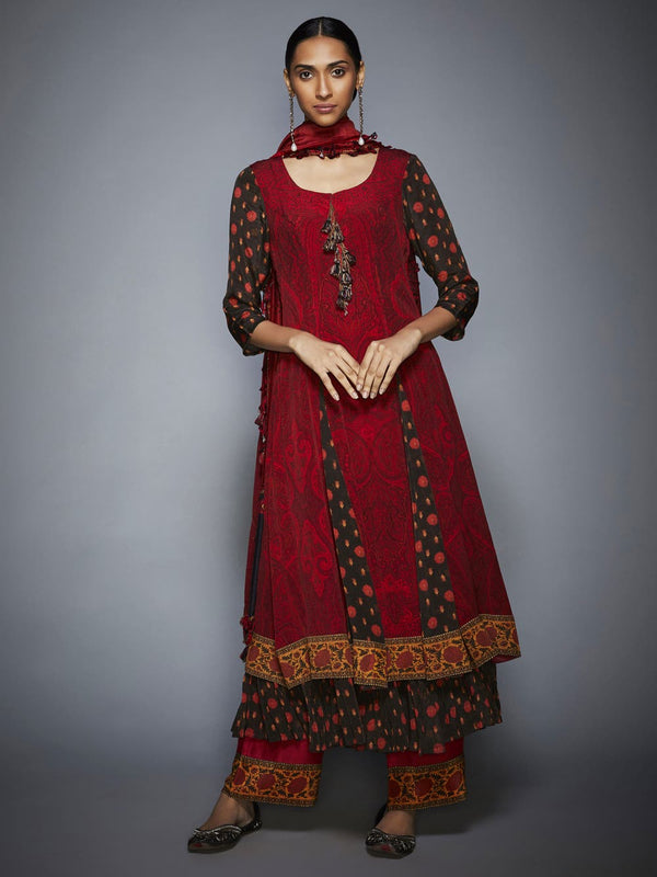RI Ritu Kumar Brown & Brick Red Thread Embroidered Suit