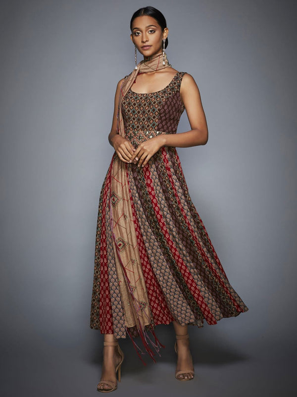 RI Ritu Kumar Brown & Beige Embroidered Dress With Sash