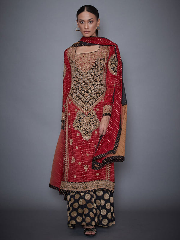 RI Ritu Kumar Burgundy & Black Embroidered Kurti With Dupatta And Palazzo Pants