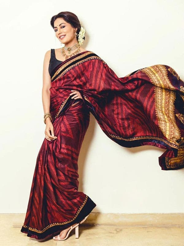 RI Ritu Kumar Burgundy Zardozi Saree with Unstitched Blouse