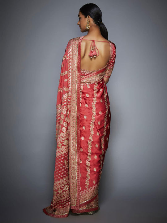 RI-Ritu-Kumar-Coral-And-Beige-Aari-Embroidery-Saree-With-Unstitched-Blouse-Back