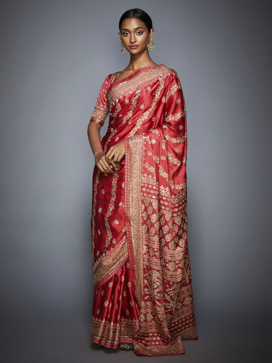 RI-Ritu-Kumar-Coral-And-Beige-Aari-Embroidery-Saree-With-Unstitched-Blouse-Complete-View