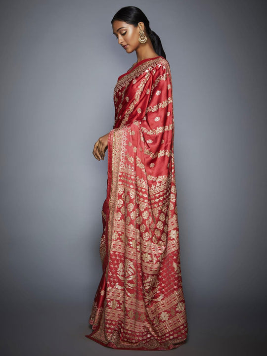 RI-Ritu-Kumar-Coral-And-Beige-Aari-Embroidery-Saree-With-Unstitched-Blouse-Side-View1
