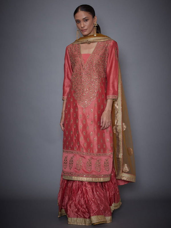 RI Ritu Kumar Coral & Khaki Embroidered Kurti With Skirt And Dupatta