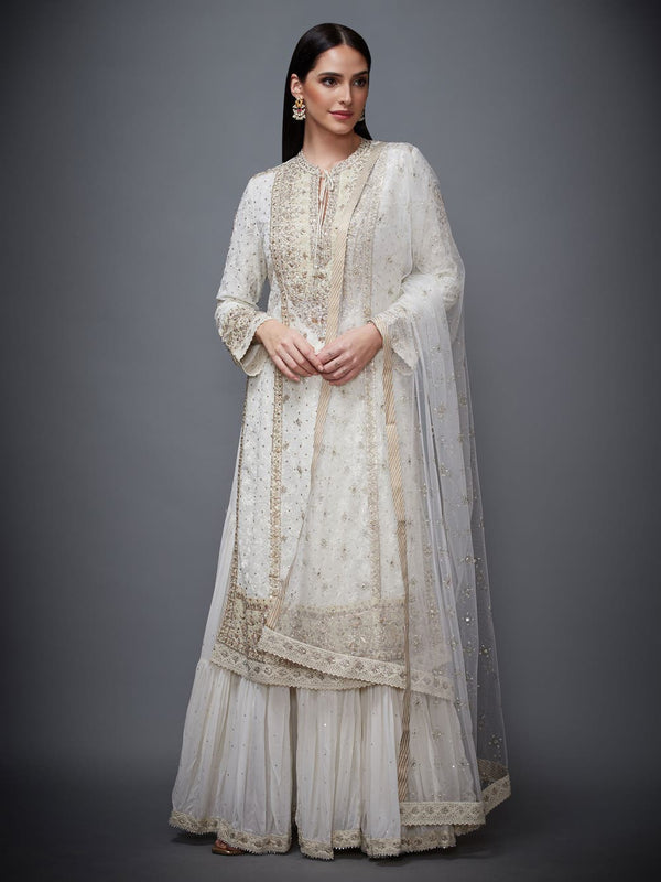 RI Ritu Kumar Ecru Embroidered Kurti With Skirt And Dupatta