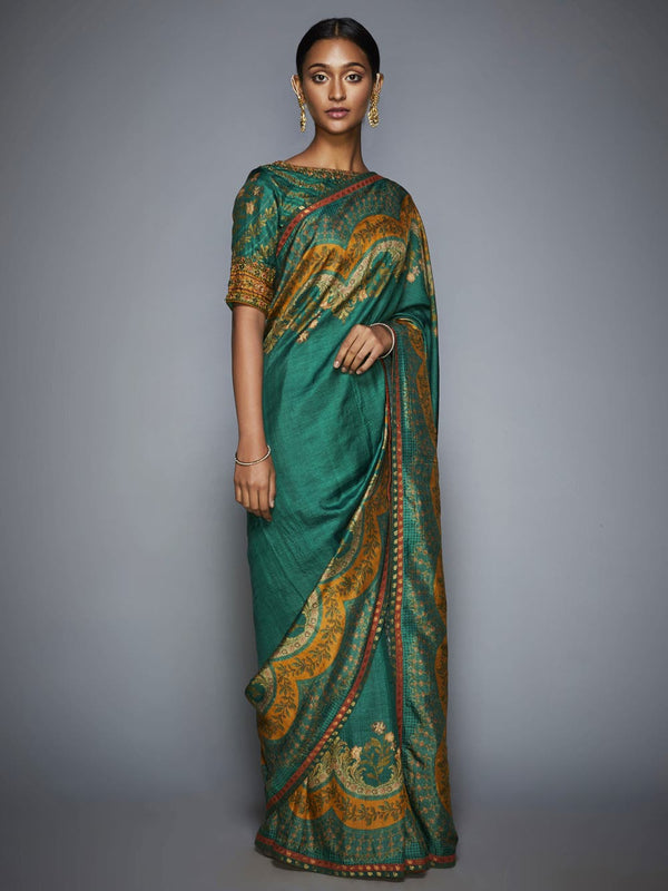 RI Ritu Kumar Emerald & Mustard Embroidered Saree With Unstitched Blouse