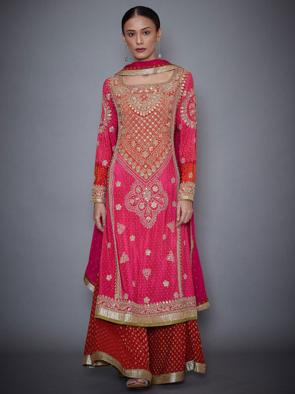 RI Ritu Kumar Fuchsia & Orange Embroidered Kurti With Dupatta And Palazzo