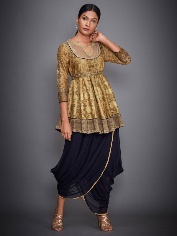 RI Ritu Kumar Gold & Navy Aari Embroidered Kurti With Dhoti Pants
