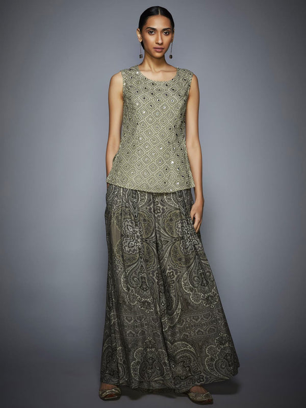 RI Ritu Kumar Gray Embroidered Kurti With Trousers