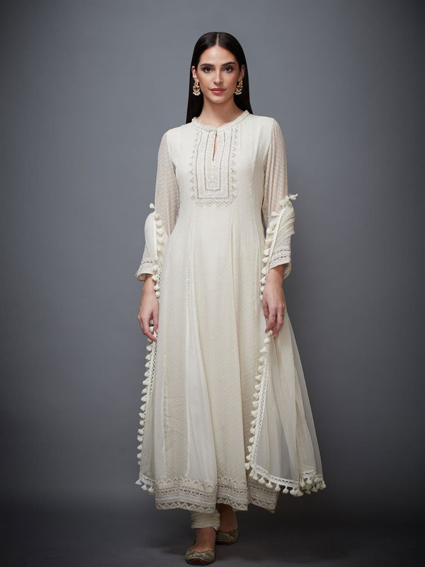 RI Ritu Kumar Ivory Embroidered Anarkali Suit Set