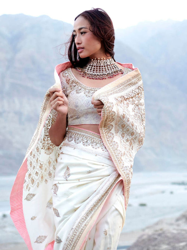 RI Ritu Kumar Ivory Silk Embroidered Saree With Unstitched Blouse