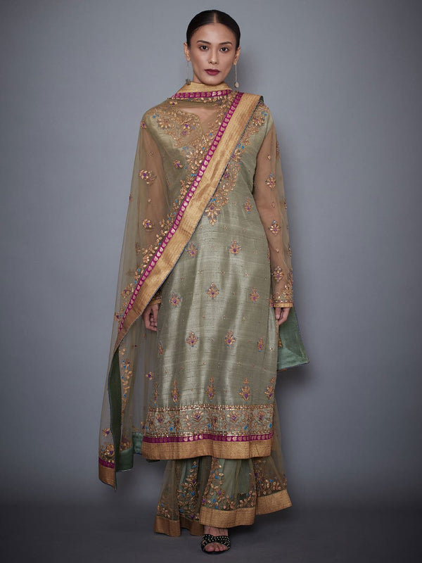 RI Ritu Kumar Khaki Green Embroidered Suit Set