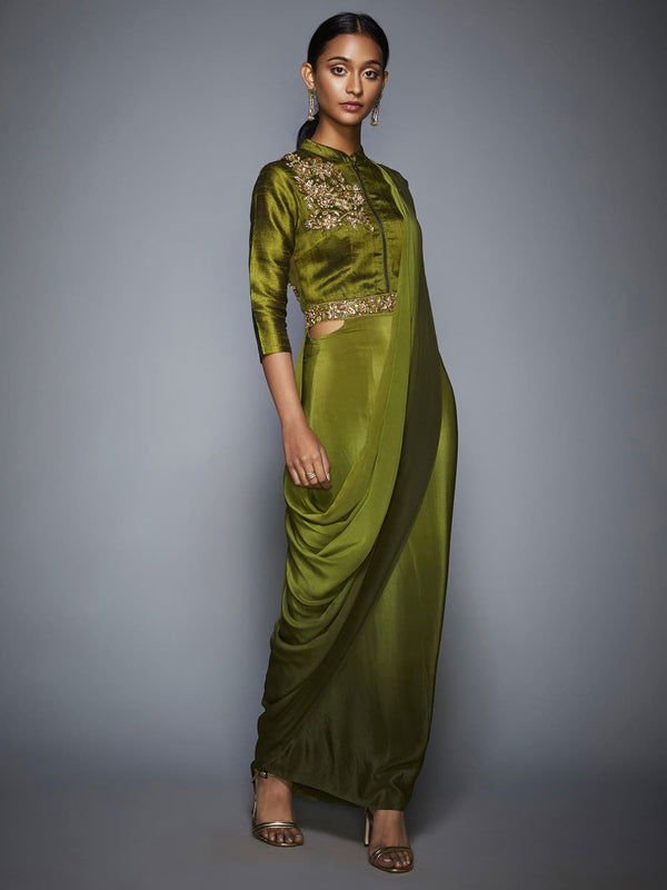 RI Ritu Kumar Khaki Green Ombre Pre-Draped Saree With Stitched Blouse