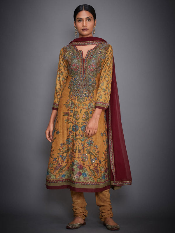 RI Ritu Kumar Mustard Yellow & Burgundy Embroidered Suit Set