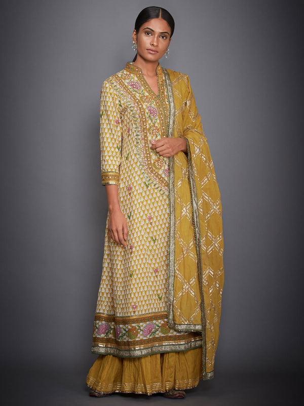 RI Ritu Kumar Mustard & Off White Floral Suit Set