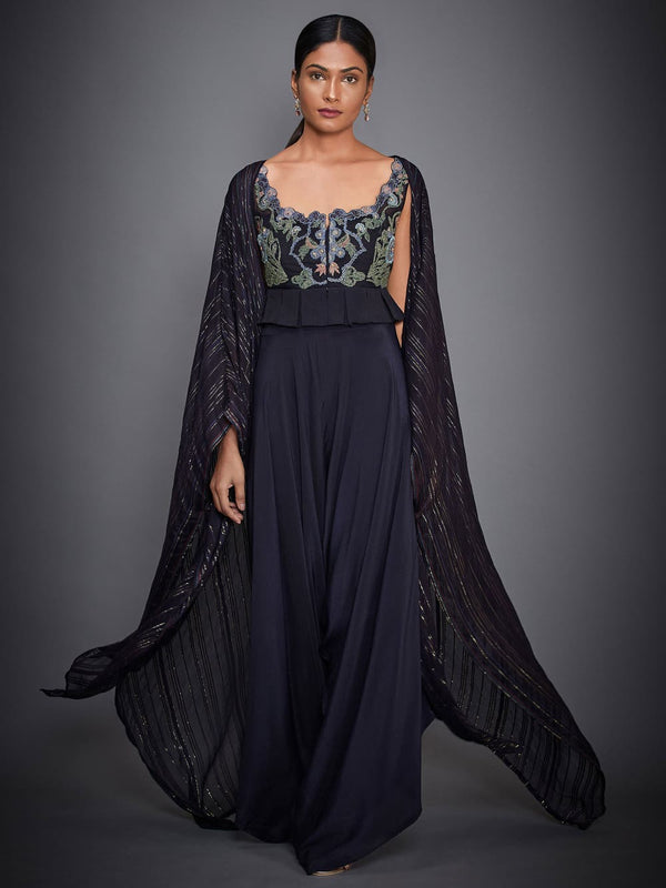 RI Ritu Kumar Navy Blue Embroidered Top With Trousers