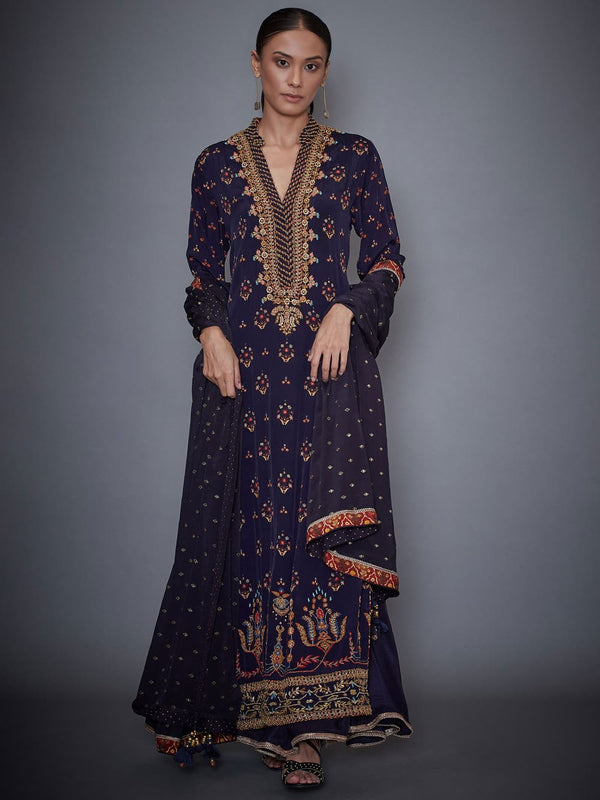 RI Ritu Kumar Navy Blue Persian Print Suit Set