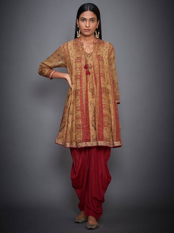 RI Ritu Kumar Ochre & Red Embroidered Ensemble