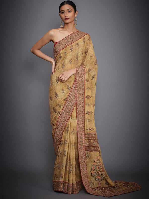 RI Ritu Kumar Ochre & Red Embroidered Saree With Unstitched Blouse