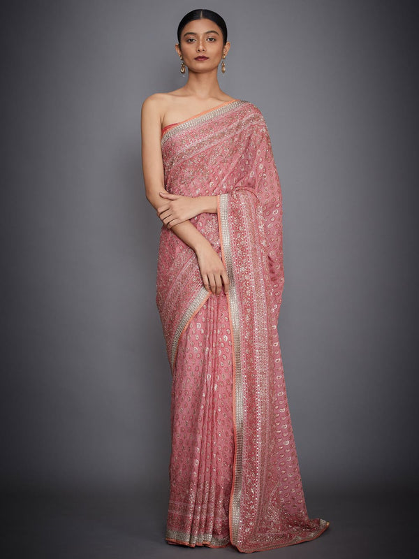 RI Ritu Kumar Pink & Gold Hand Embroidered Paisley Saree With Unstitched Blouse