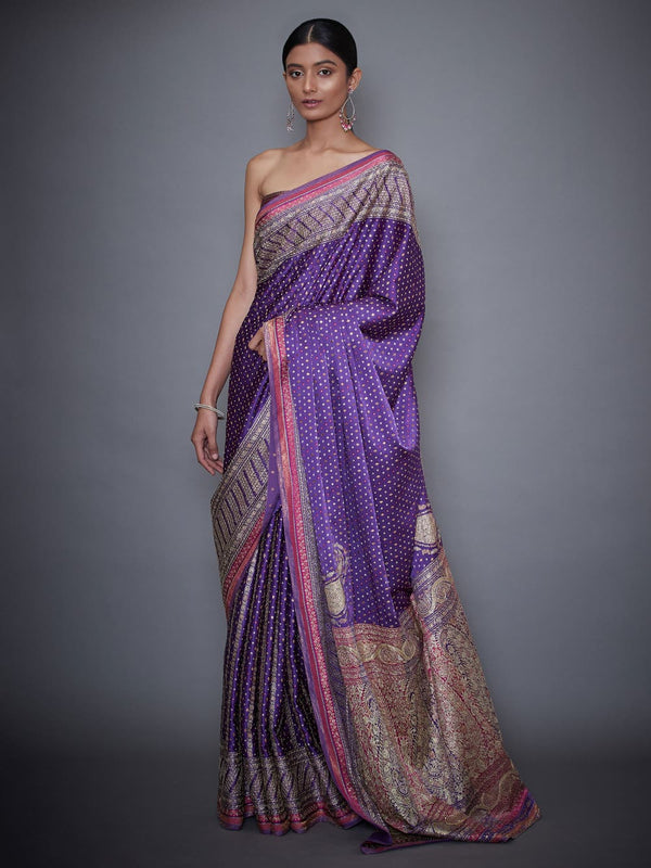 RI Ritu Kumar Pink & Purple Embroidered Saree With Unstitched Blouse