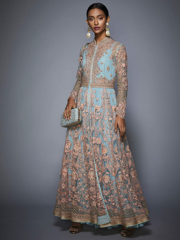 RI Ritu Kumar Powder Blue Dress with Embroidered Jacket