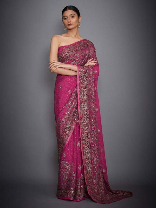 RI Ritu Kumar Prune & Pink Paisley Embroidered Saree with Unstitched Blouse