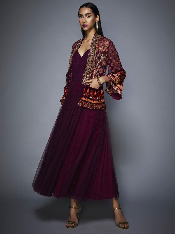 RI Ritu Kumar Prune Velvet Dress with Embroidered Jacket
