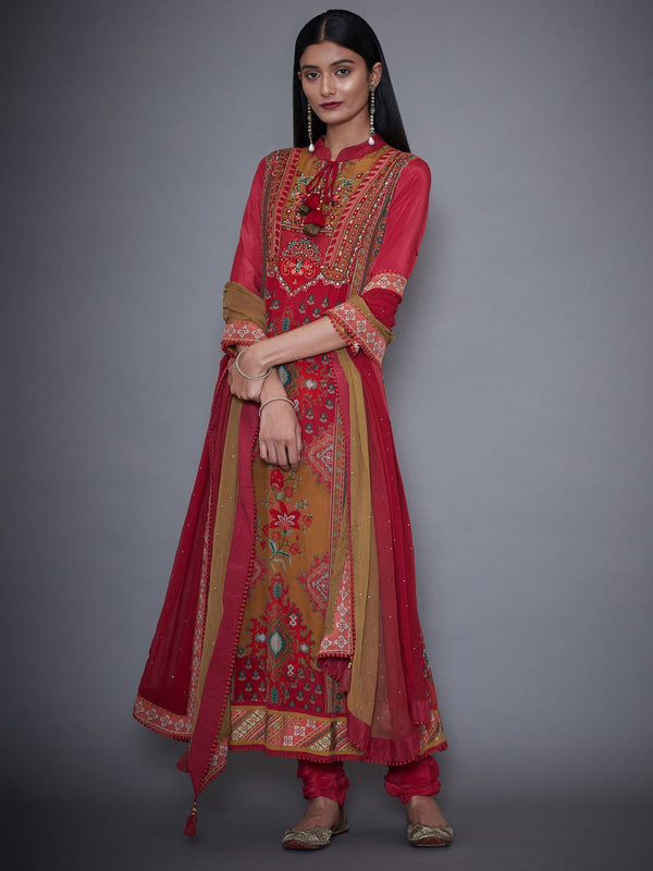 RI Ritu Kumar Red & Olive Printed Crepe Suit Set