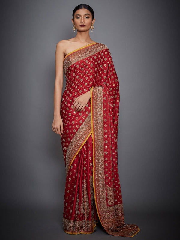 RI Ritu Kumar Red & Saffron Embroidered Saree With Unstitched Blouse