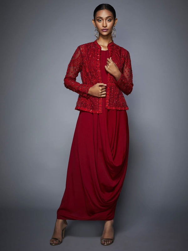 RI Ritu Kumar Red Cowl Dress with Jacket