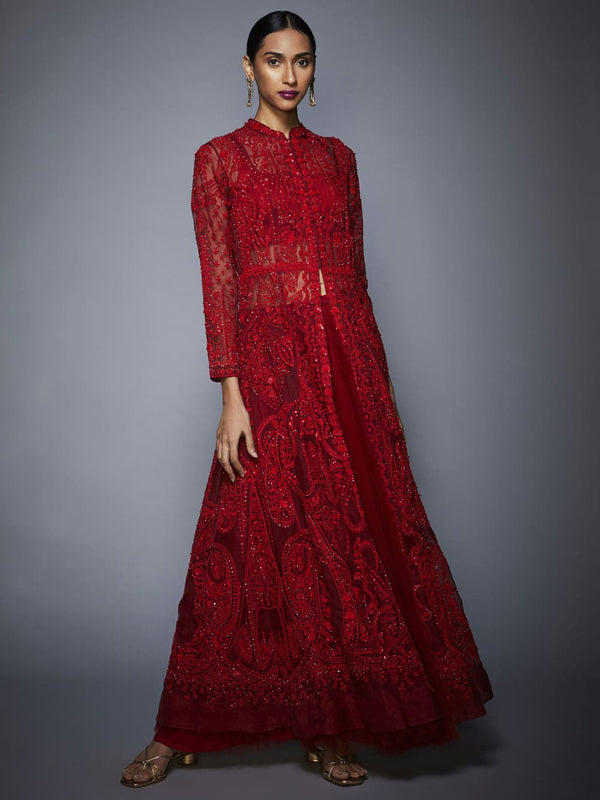RI Ritu Kumar Red Embroidered Ensemble