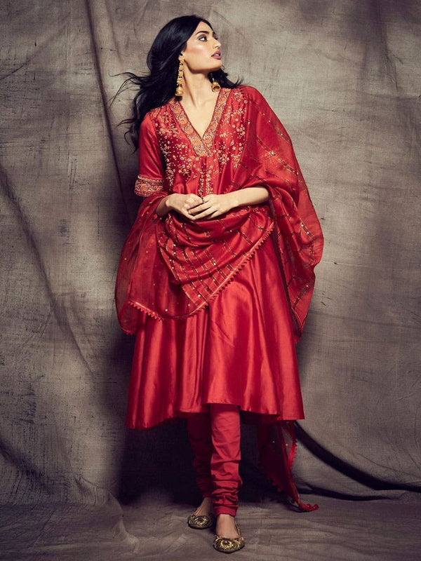 RI Ritu Kumar Red Embroidered Suit Set