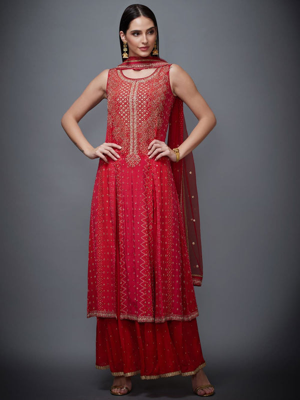 RI Ritu Kumar Red Hand Embroidered Suit Set