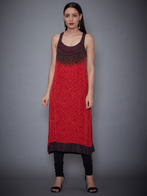 RI Ritu Kumar Red & Black Embroidered Ensemble