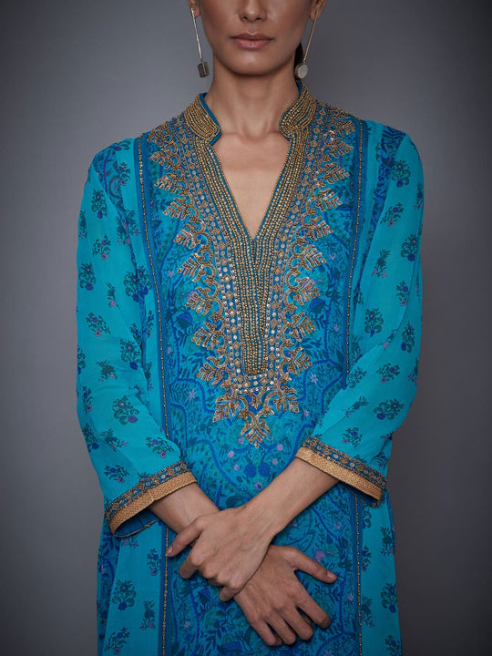 RI-Ritu-Kumar-Royal-Blue-And-Turquoise-Embroidered-Suit-Set-CloseUp