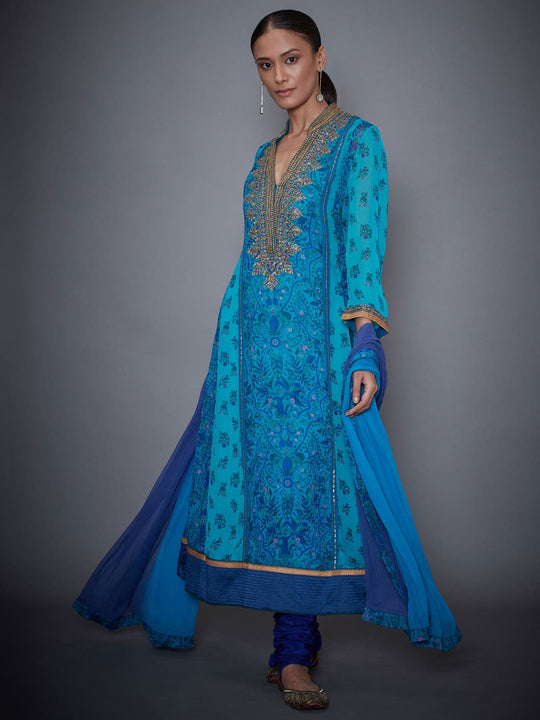 RI-Ritu-Kumar-Royal-Blue-And-Turquoise-Embroidered-Suit-Set-Complete-View
