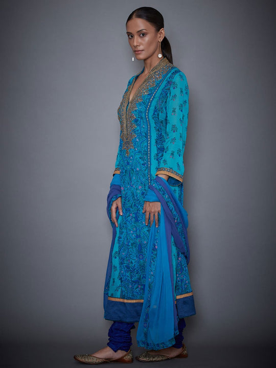 RI-Ritu-Kumar-Royal-Blue-And-Turquoise-Embroidered-Suit-Set-Side-View1