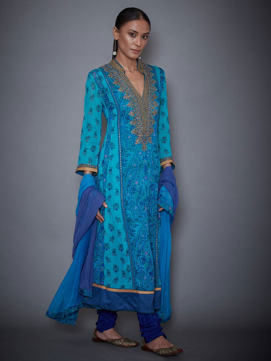 RI-Ritu-Kumar-Royal-Blue-And-Turquoise-Embroidered-Suit-Set-Side-View2