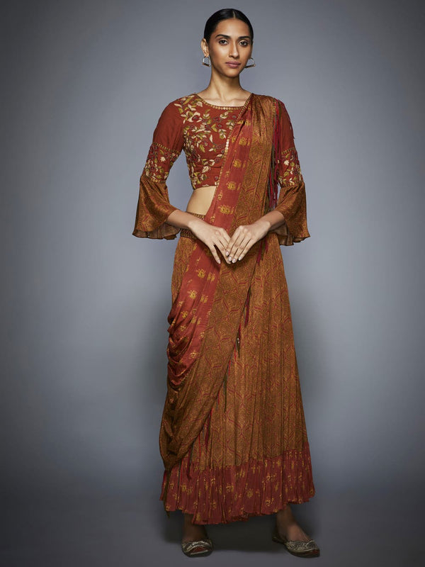 RI Ritu Kumar Rust & Olive Embroidered Draped Saree