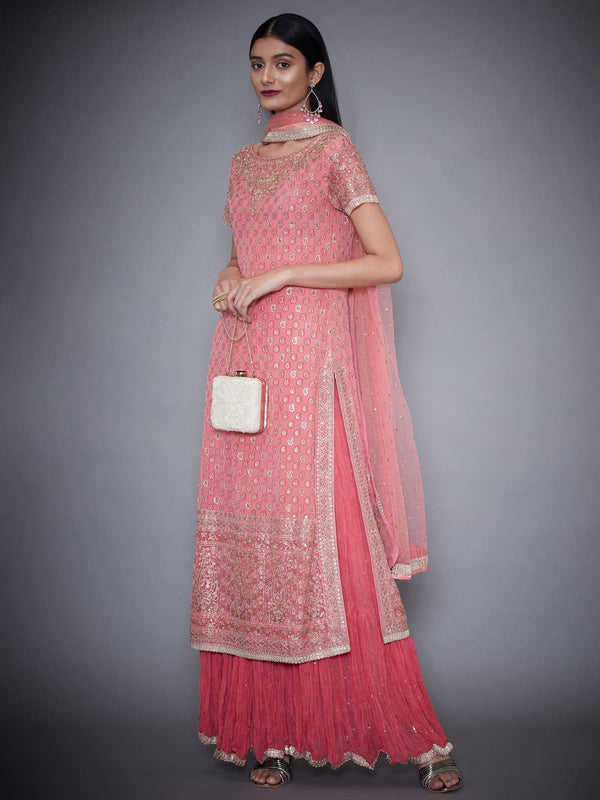 RI Ritu Kumar Soft Pink Embroidered Skirt Set