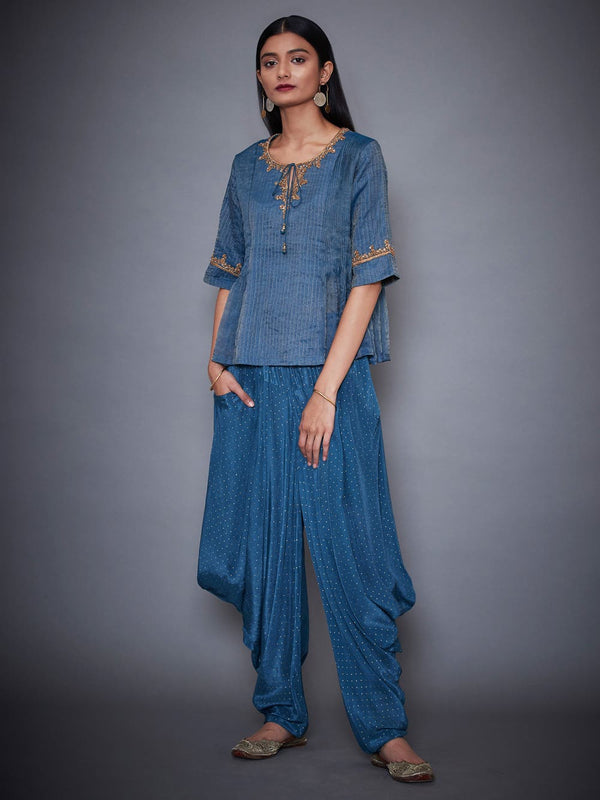 RI Ritu Kumar Teal Blue & Gold Shimmer Kurti With Dhoti Pants