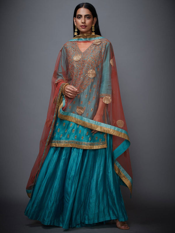RI Ritu Kumar Turquoise & Gold Embroidered Suit Set