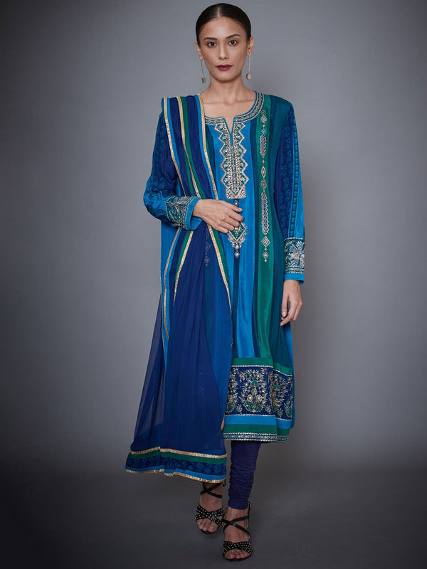 RI Ritu Kumar Turquoise & Royal Blue Embroidered Silk Chinon Suit Set