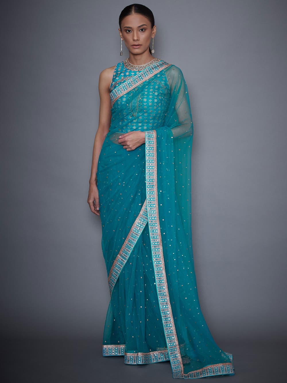 RI-Ritu-Kumar-Turquoise-Net-Saree-With-Embroidered-Stitched-Blouse-Complete-View