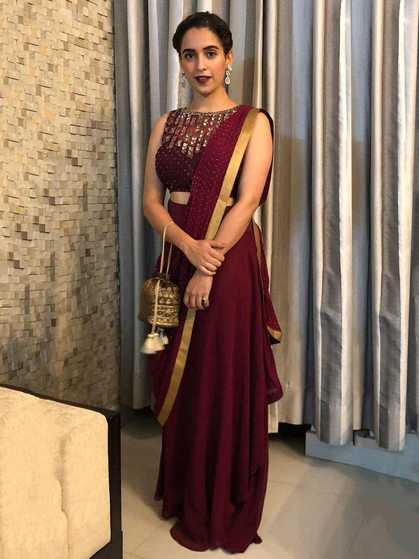 RI Ritu Kumar Wine Embroidered Draped Saree With Stitched Blouse