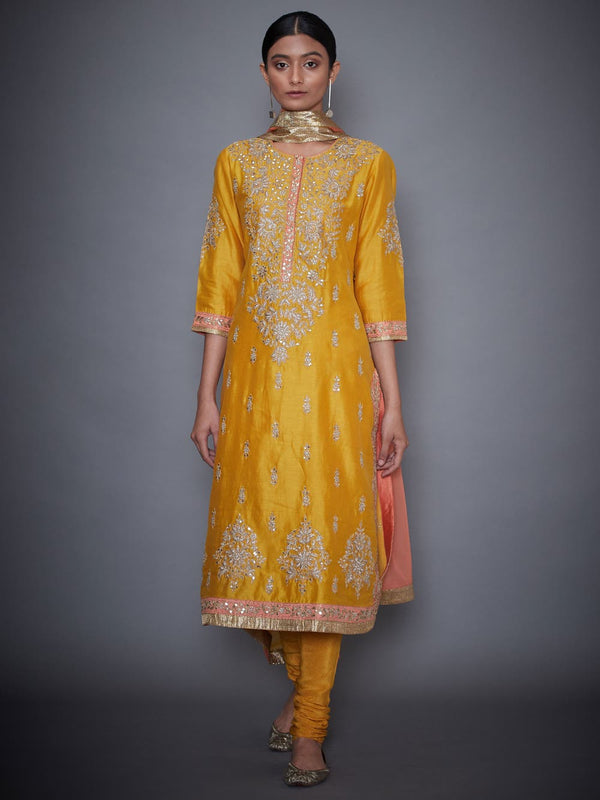 RI Ritu Kumar Yellow & Coral Embroidered Kurti With Dupatta And Churidar
