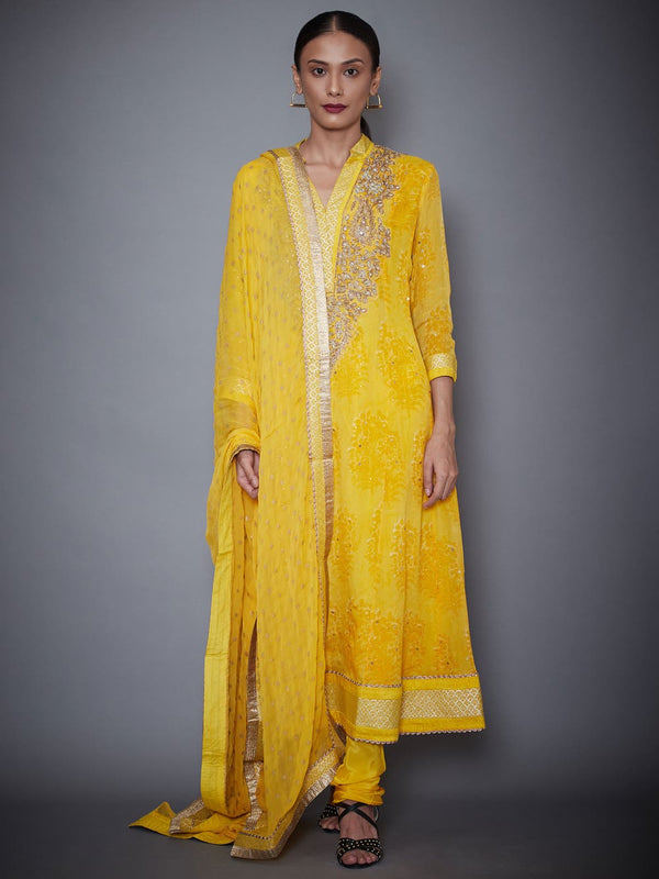 RI Ritu Kumar Yellow Embroidered Kurti With Dupatta And Churidar