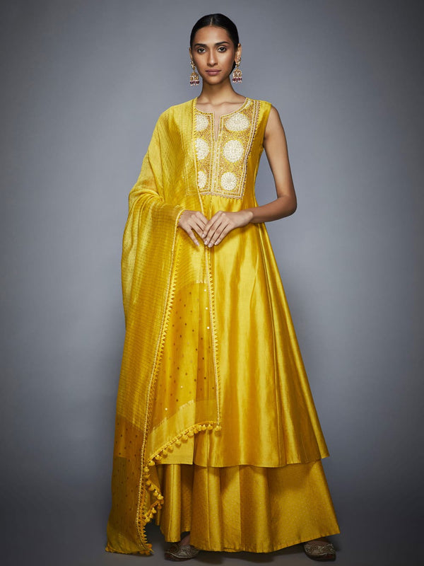 RI Ritu Kumar Yellow Embroidered Suit Set