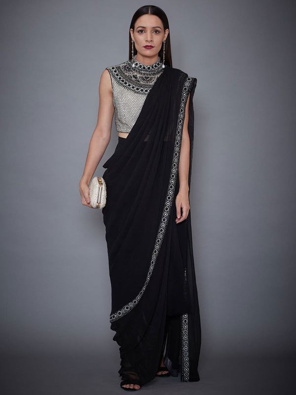 RI Ritu Kumar Black & White Embroidered Draped Saree With Stitched Blouse